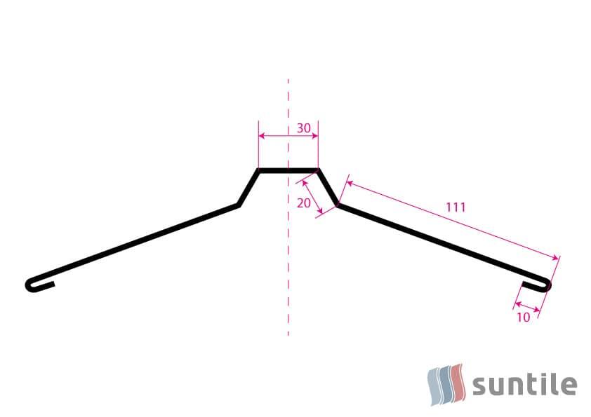 Планка стыка прямая малая ПСК-1 (конек)